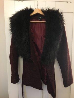 H&M Giacca di pelliccia marrone-rosso-nero