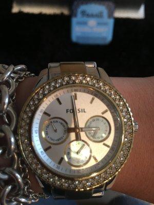 Schöne Fossil Uhr Silber-Gold