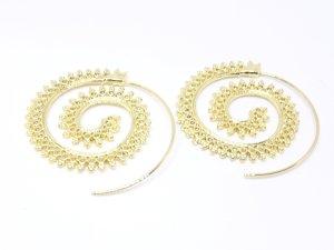 Schöne goldfarbene Indie Boho Creolen Ohrringe Ohrhänger mit Mandala Muster