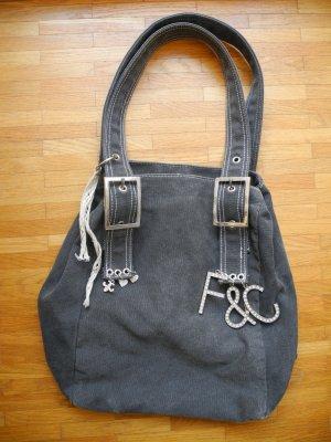 Schöne, graue Schulter-Tasche von Friis & Company mit silbernen Details