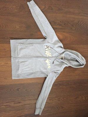 Schöne graue Sweatshirtjacke mit gelber Schrift