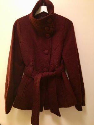 H&M Veste en laine bordeau-rouge carmin laine