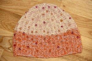 Sombrero de punto albaricoque-rosa