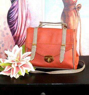 Schöne Handtasche Cognac Orange Creme Vintage Style Schultertasche