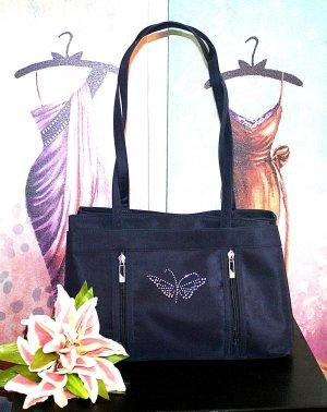 Schöne Handtasche Tasche Blau Glitzer Schultertasche