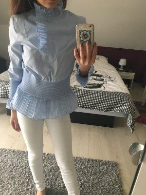 H&M Blouse à volants bleu clair