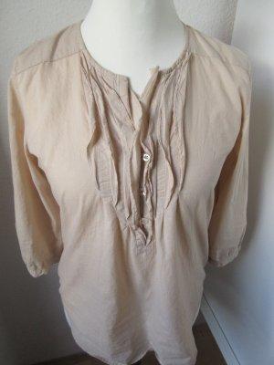 Schöne hellbraune Bluse mit Rüschen, Biesen