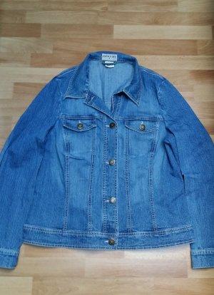 schöne helle Damen Jeansjacke Gr. 42, blau-weiß