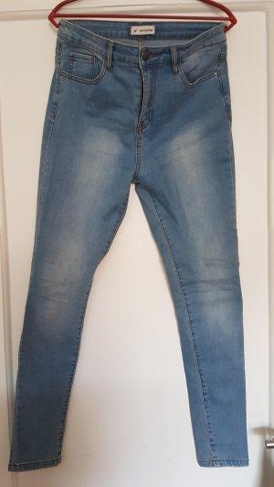 24Colours Hoge taille jeans azuur Katoen