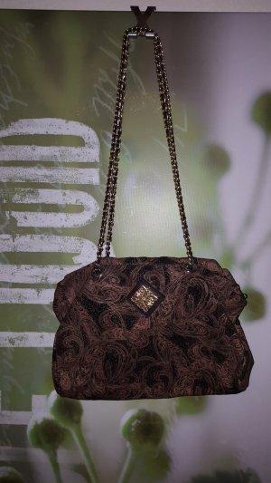 Shoulder Bag black-gold-colored suede