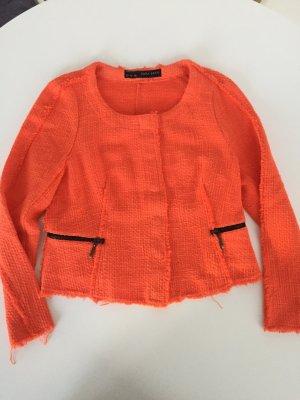 Schöne Jacke Kurzblazer Blazer aus Baumwolle in fröhlichem Orange L 40 Zara