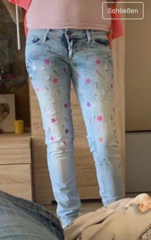 Pantalon taille basse bleu azur
