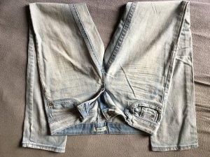 Jeans bleu clair-blanc