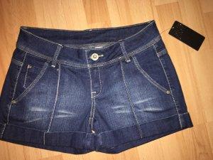 Mango Pantalón corto de tela vaquera azul oscuro