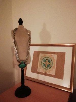 Collier argenté-turquoise