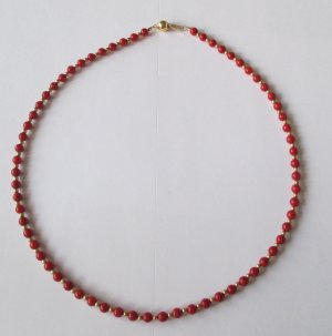 Gold Chain brick red-dark red real gold