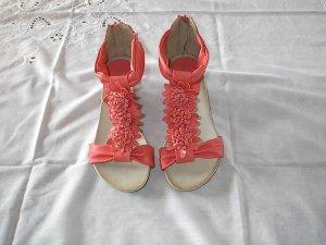 Comfortabele sandalen zalm-lichtrood