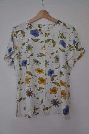 Schöne kurzärmelige Bluse mit Blumenmuster aus 100% Leinen Größ L