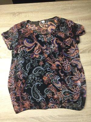 Schöne kurzärmelige Bluse mit Blumenoptik