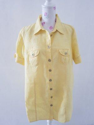 Bonita Camisa de manga corta amarillo claro