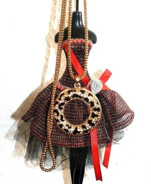 Schöne lange Halskette Gold Schwarz Modeschmuck