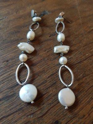 Dangle white-silver-colored