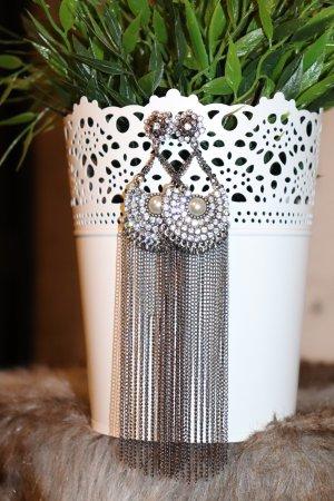 Schöne lange statement Ohrringe silber Strass perle Metall