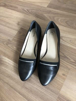 Ballerinas with Toecap black-silver-colored leather