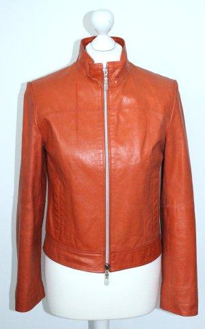 Leather Jacket neon orange leather