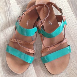 Bruno Premi Strapped Sandals brown-turquoise leather