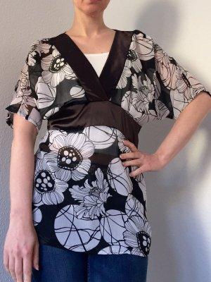 Schöne leichte Bluse, Tunika in schwarz-weiß, XS
