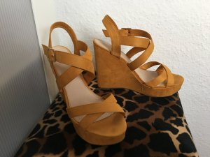 Pull & Bear Wedge Sandals dark yellow-light orange