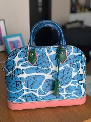 Louis Vuitton Sac à main blanc-bleu azur