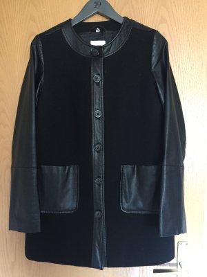 schöne Mantel Wolle Leder   von Vögele  für den Herbst -  Größe 38