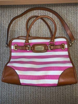 Schöne Michael Kors Tasche gestreift Pink weiß