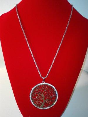 Schöne,moderne,Halskette,mit lebensbaum Anhänger,in Metall Optik,in Silber Farbe