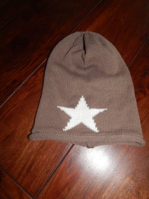 Beanie light brown-pale yellow cotton