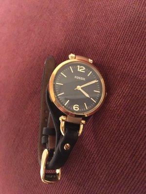 Schöne nagelneue Armbanduhr von Fossil, schwarz-gold