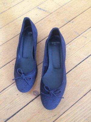 Minozzi Milano Patent Leather Ballerinas dark blue-blue leather