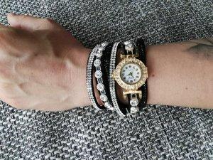 schöne neue Uhr gold, silber, Lederarmband