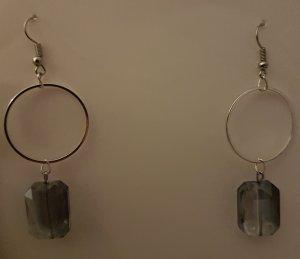 Schöne Ohrhänger mit Kreolen und Glasschliffperle (selbstgemacht)