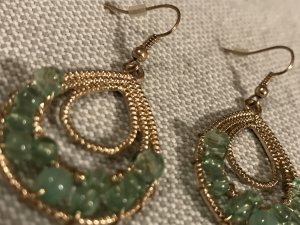 Schöne Ohrringe * grün gold Bling Bling * Ohrhänger Statement Fashion * neuwertig