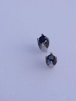 Oorstekers zilver-blauw