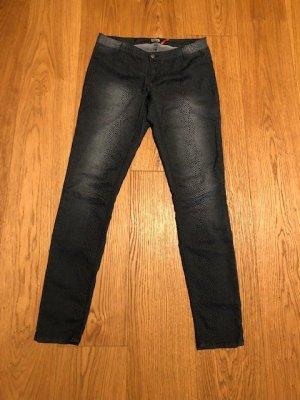 Pantalon taille basse gris anthracite-gris clair fibre textile