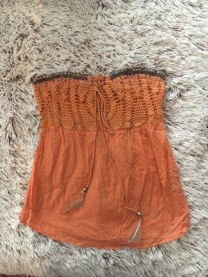 Bershka Knitted Top light orange-apricot