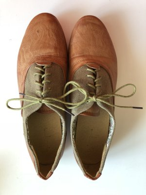 Lace Shoes light brown-grey brown imitation leather