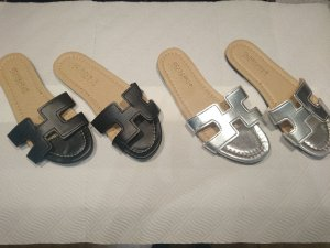 Beach Sandals silver-colored-black