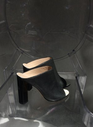 French Connection Heel Pantolettes black-white leather