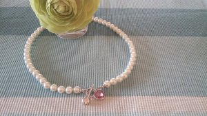 Collar de perlas multicolor plata verdadero