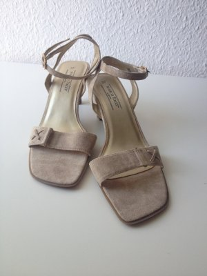 Marco Tozzi Strapped High-Heeled Sandals camel-beige suede